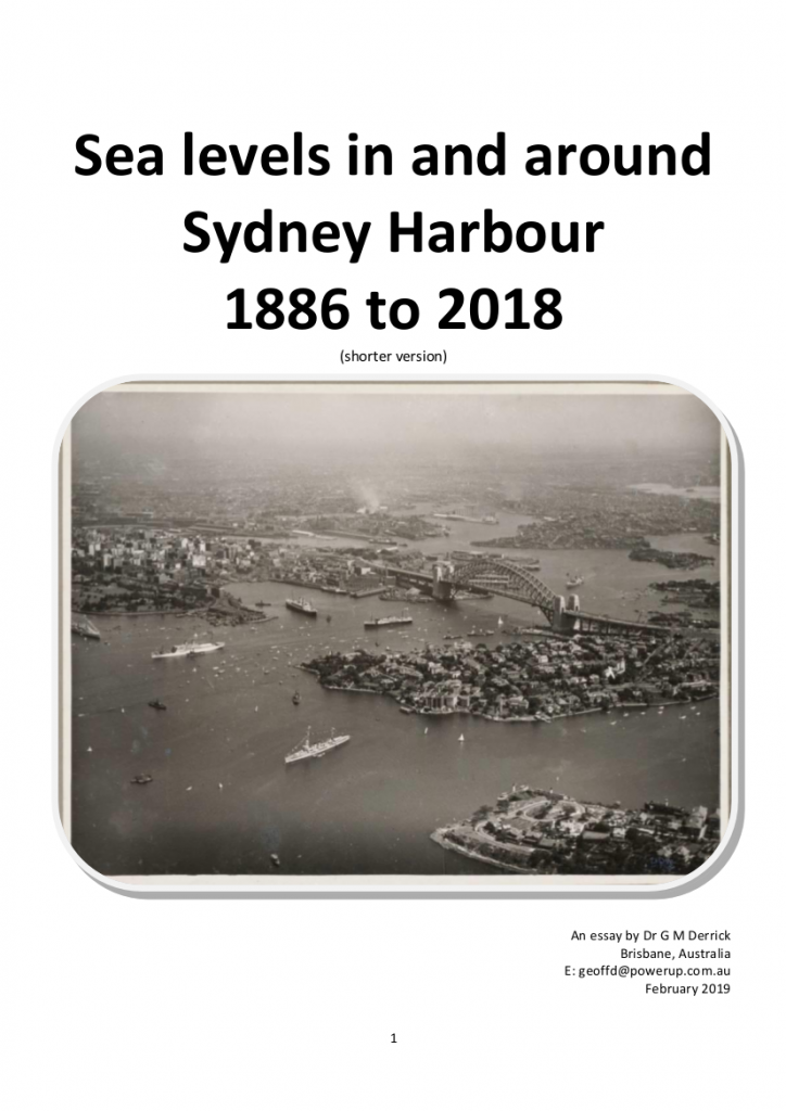 Sea levels in and around Sydney Harbour 1886 to 2018